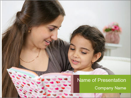 Cute little girl reading book PowerPoint Template