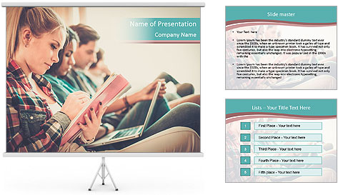 Group of students preparing for exams PowerPoint Template