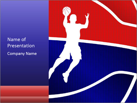 Raster version of a red and blue basketball PowerPoint Template