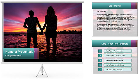 Little and Big couple and the sunset PowerPoint Template