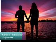 Little and Big couple and the sunset PowerPoint Templates