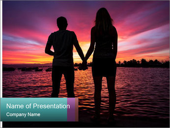 Little and Big couple and the sunset PowerPoint Template - Slide 1