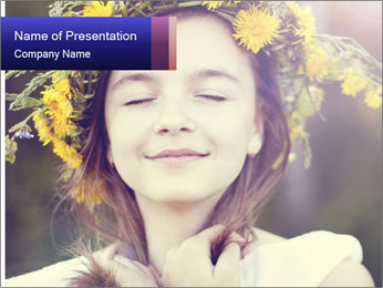 Little girl dreaming PowerPoint Templates - Slide 1