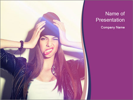 Closeup studio shot of pretty hipster teenage girl PowerPoint Templates