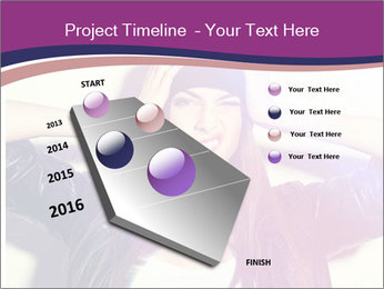 Closeup studio shot of pretty hipster teenage girl PowerPoint Template - Slide 26
