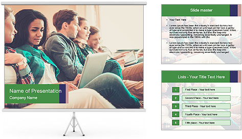 Group of young students preparing for exams r PowerPoint Template