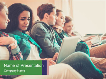 Group of young students preparing for exams r PowerPoint Template - Slide 1