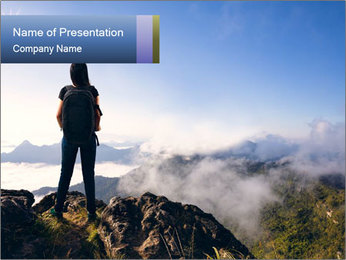 Young woman with backpack standing PowerPoint Template - Slide 1