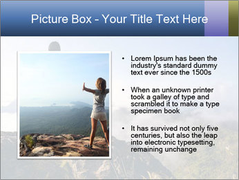 Young woman with backpack standing PowerPoint Template - Slide 13