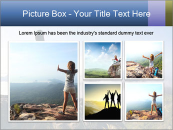 Young woman with backpack standing PowerPoint Template - Slide 19