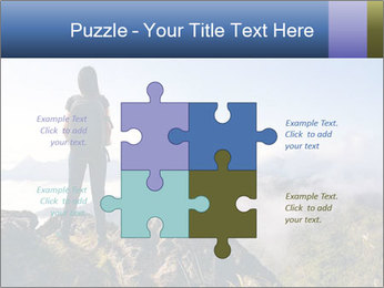 Young woman with backpack standing PowerPoint Template - Slide 43