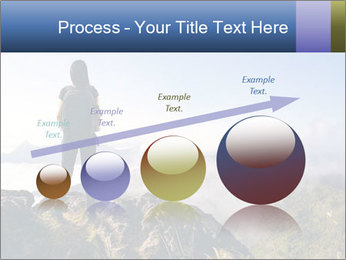 Young woman with backpack standing PowerPoint Template - Slide 87