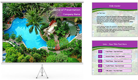 Palm and Swimming pool PowerPoint Template