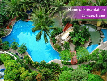 Palm and Swimming pool PowerPoint Template - Slide 1