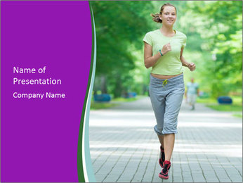 Running woman jogging in city street park at beautiful summer morning PowerPoint Template - Slide 1