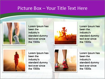 Running woman jogging in city street park at beautiful summer morning PowerPoint Templates - Slide 14