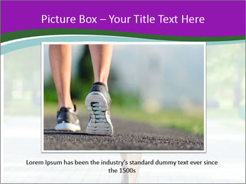 Running woman jogging in city street park at beautiful summer morning PowerPoint Templates - Slide 15