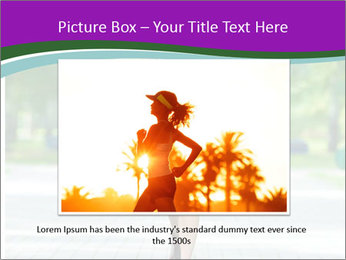 Running woman jogging in city street park at beautiful summer morning PowerPoint Templates - Slide 16