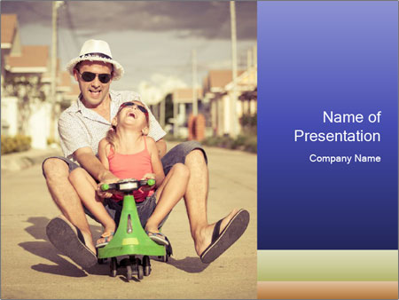Father and little daughter playing near a house PowerPoint Template