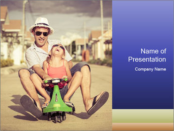 Father and little daughter playing near a house PowerPoint Template - Slide 1