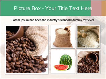 Pecan nuts in a burlap sack bag close up PowerPoint Template - Slide 19