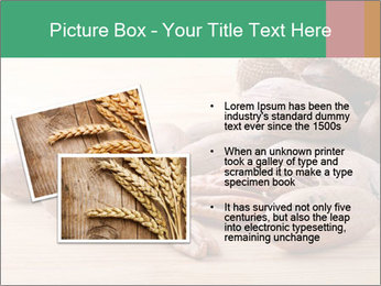 Pecan nuts in a burlap sack bag close up PowerPoint Template - Slide 20