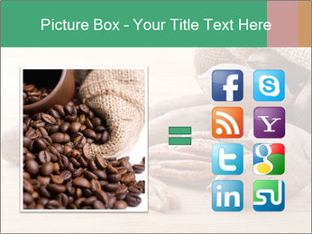 Pecan nuts in a burlap sack bag close up PowerPoint Template - Slide 21