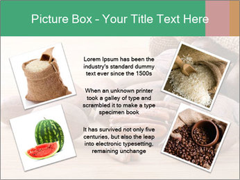 Pecan nuts in a burlap sack bag close up PowerPoint Template - Slide 24