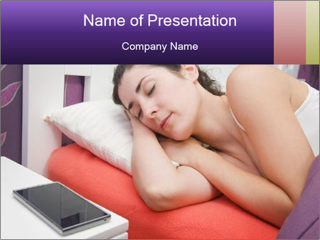 Beauty woman sleeping PowerPoint Template