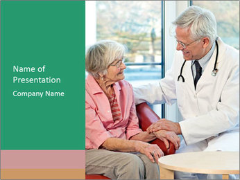 Elderly woman in consultation with her doctor PowerPoint Template - Slide 1
