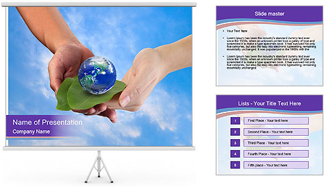 A man and a boy holding the Earth on leafs in hands PowerPoint Template