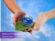 A man and a boy holding the Earth on leafs in hands PowerPoint Templates