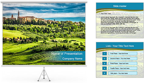 View of the town PowerPoint Template