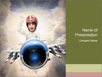 Happy little pilot flying in retro jet PowerPoint Template - Slide 1