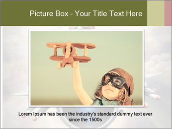Happy little pilot flying in retro jet PowerPoint Template - Slide 15