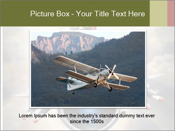 Happy little pilot flying in retro jet PowerPoint Template - Slide 16