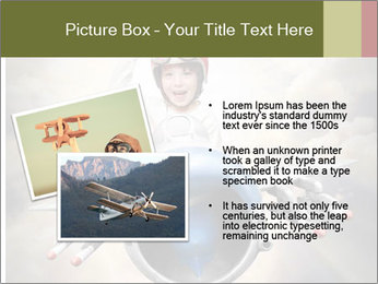 Happy little pilot flying in retro jet PowerPoint Template - Slide 20