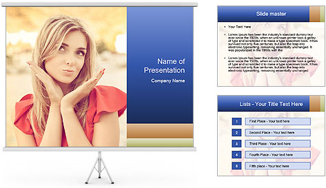 Beautiful, young woman sends an air kiss. love. emotion PowerPoint Template