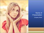 Beautiful, young woman sends an air kiss. love. emotion PowerPoint Templates