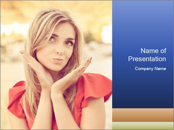 Beautiful, young woman sends an air kiss. love. emotion PowerPoint Template - Slide 1