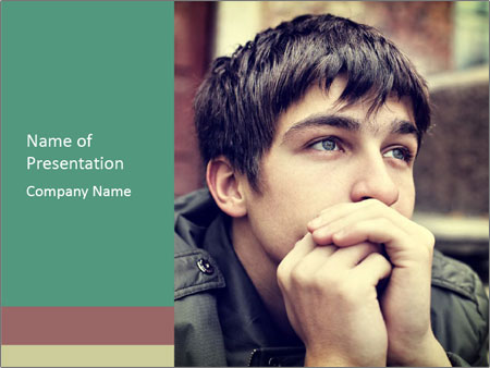 Toned of sad Teenager PowerPoint Template