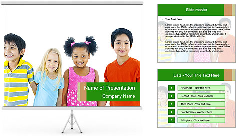 Kids holding hand PowerPoint Template