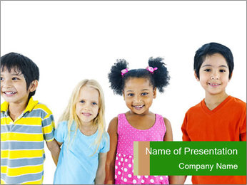 Kids holding hand PowerPoint Template - Slide 1