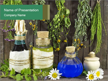 Still life with healing herbs PowerPoint Template