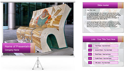 Beautiful design street bench PowerPoint Template