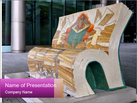 Beautiful design street bench PowerPoint Templates