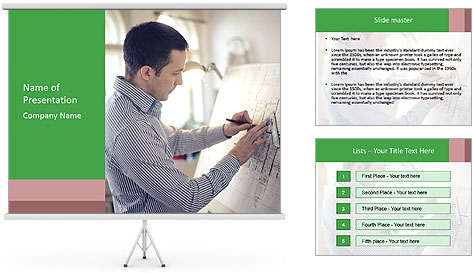 Portrait of architect working PowerPoint Template