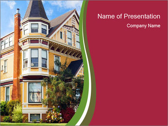 Victorian house in yellow PowerPoint Template
