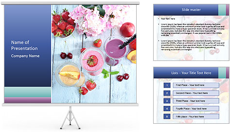 Delicious smoothie on table PowerPoint Template