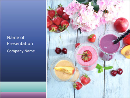 Delicious smoothie on table PowerPoint Templates